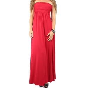 Fashion Red Party  Strapless Maxi Dress